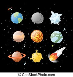 El planeta puso un fondo oscuro. Espacio oscuro. Planetas del sistema solar con estilo de dibujos animados. Tierra, Júpiter. Marte y el sol. Un meteorito cayendo. asteroide Fireball. Luna amarilla. iconos del planeta aislados. Astronomía, elementos de objetos espaciales