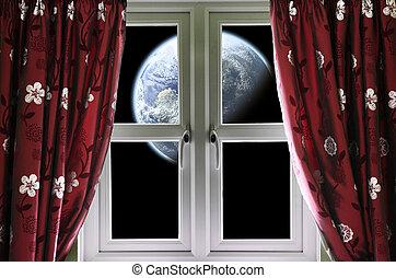 El planeta vio a través de una ventana