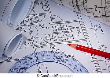 El plano de una casa. Construcción