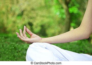 El primer plano de las manos de las mujeres en posición de yoga