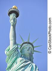 El primer plano de libertad en New York City Manhattan