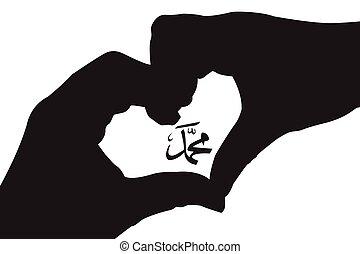 El profeta Mahoma del Islam con siluetas de manos