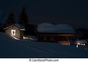 El pueblo de Ski por la noche