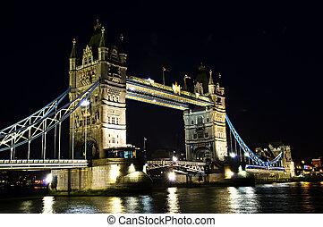 El puente de la torre en Londres por la noche