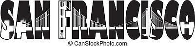 El puente de San Francisco de la Puerta Dorada esboza la ilustración