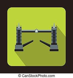 El puente Tower, el icono de Londres, al estilo plano