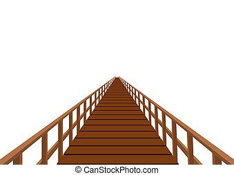 El puente Wooden con un pasamanos