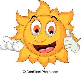 El pulgar de dibujos del sol