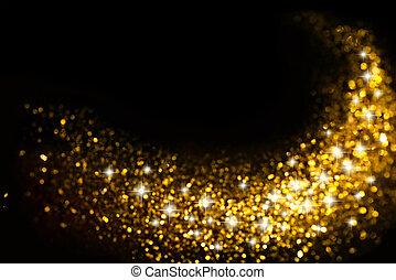 El rastro de brillo dorado con estrellas de fondo