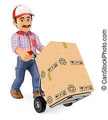 El repartidor del Correo 3D empujando un camión con cajas