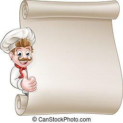 El rollo del menú del chef de dibujos animados