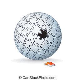 El rompecabezas del mundo, la esfera. Imagen de vector 3D