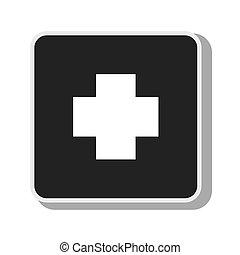 El símbolo cruza el diseño médico