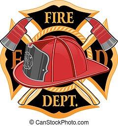 El símbolo cruzado del departamento de bomberos