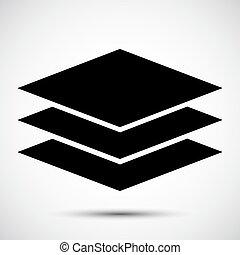 El símbolo de icono de Layers se aísla en el fondo blanco, ilustración de vectores