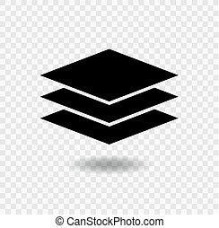 El símbolo de icono de Layers se aísla en el fondo transparente, ilustración de vectores