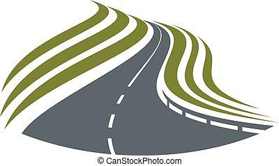 El símbolo de la carretera con la pista de divisoria