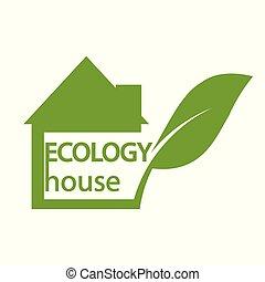 El símbolo de la casa verde, el ícono de la ecología sobre el fondo blanco