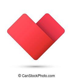 El símbolo de la cinta del corazón 3D de logo rojo