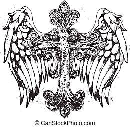 El símbolo de la cruz real con alas