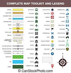 El símbolo de la leyenda del icono del mapa es una herramienta