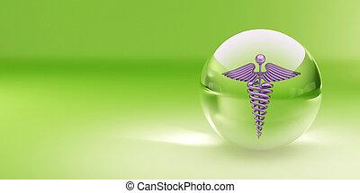 El símbolo de la medicina en la esfera de cristal.