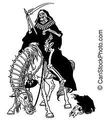 El símbolo de la muerte sentado en un caballo