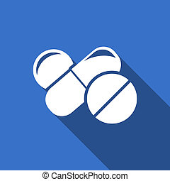 El símbolo de las pastillas de icono de medicina plana