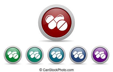 El símbolo de las pastillas de icono medicinal