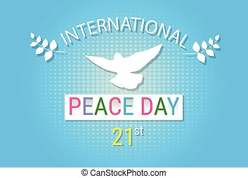 El símbolo de paloma blanca del día de la paz mundial