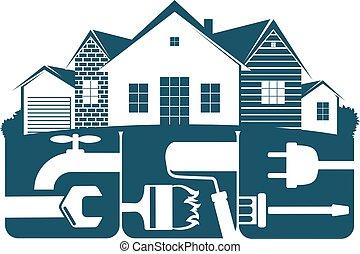 El símbolo de reparación de la vivienda para los negocios