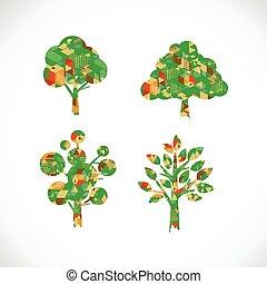 El símbolo del árbol con estilo gráfico geométrico abstracto aislado en el fondo blanco, ilustración de Vector