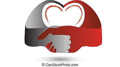 El símbolo del corazón de apretón de manos
