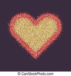 El símbolo del día de San Valentín. Corazón. Chispas rojas y vector de brillo