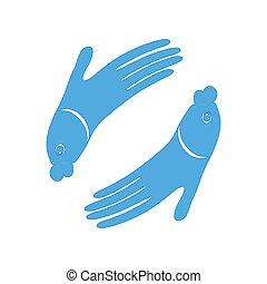 El símbolo del diseño de manos de pez para Spa