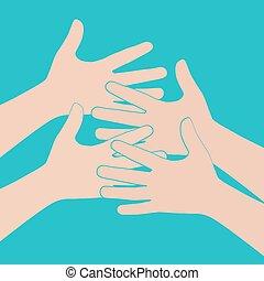 El símbolo del equipo. Manos multicolores