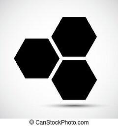 El símbolo del icono de Honeycomb está aislado en el fondo blanco, ilustración de vectores