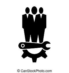 El símbolo del icono de mantenimiento técnico se aísla en el fondo blanco, ilustración de vectores