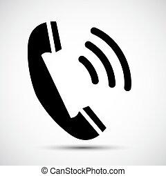 El símbolo del icono telefónico está aislado en el fondo blanco, ilustración de vectores