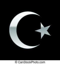 El símbolo del Islam plateado sobre el fondo negro. Ilustración de vectores
