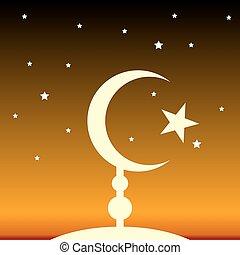 El símbolo del Islam por la noche.