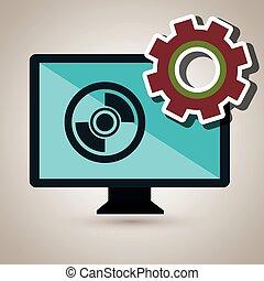 El símbolo del sistema de engranajes de pantalla