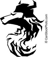 El símbolo del tatuaje de la cabeza de lobo.