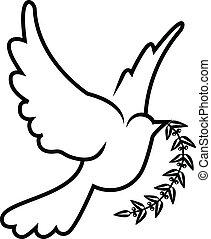 El símbolo del vector de la rama de la paloma