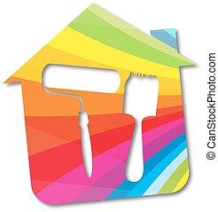 El símbolo del vector pintó casas