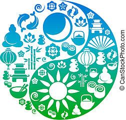 El símbolo del yin yang hecho de iconos zen