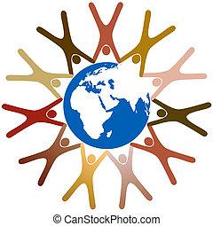 El símbolo diverso que la gente toma de la mano alrededor del planeta Tierra