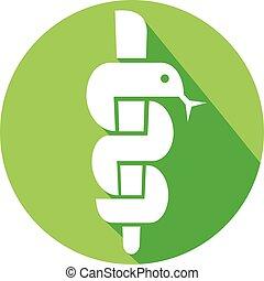 El símbolo médico caduceo serpiente
