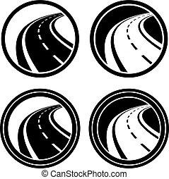El símbolo negro de asfalto curvado