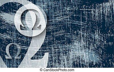 El símbolo omega transparente y el fondo rayado